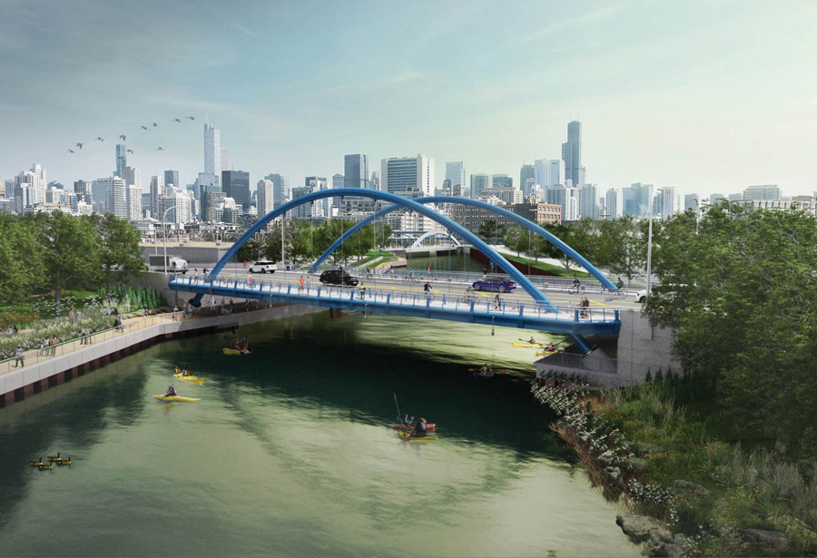 Division Street Bridges over the Chicago River & North Branch Canal